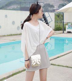 Striped Illusion Dress by Miamasvin #Miamasvin #KoreanFashion #AsianFashion