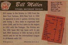 1955 Bowman #245 Bill Miller Back