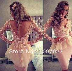 Free Shipping Sheath Sexy Myriam Fares Dress V-Neck V Back Knee Length Flowers Sash Long Sleeve Cocktail Dress CD001