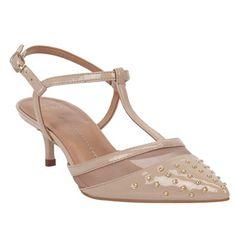 Scarpin Pele de Verniz e Tela com Mini Tachas   Verão 2015 Shoestock - Shoestock