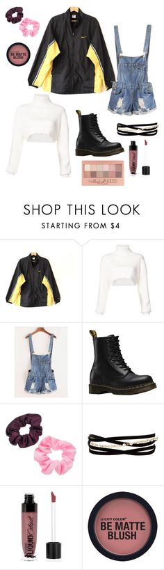 """""""The 90's"""" by noellemary ❤ liked on Polyvore featuring NIKE, Alexandre Vauthier, Dr. Martens, Mudd, Kenneth Jay Lane, Wet n Wild and Maybelline"""