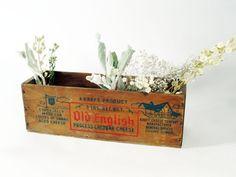 Vintage Wood Cheese Box Floral Herbal Displays by FleaCircuit