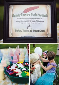 making fairy wands out of pixie dust for a peter pan birthday activity Pirate Fairy Party, Pirate Party Games, Fairy Birthday Party, Pirate Birthday, 4th Birthday Parties, 5th Birthday, Birthday Ideas, Peter Pan Party, Birthday Activities