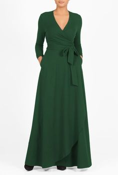 """""""Our cotton jersey knit dress is styled with a low surplice V-neck and a cross-over skirt with a curved hem for a modern update on a classic.""""  From eShakti, meaning you can customize neckline, skirt length, and sleeve length!"""