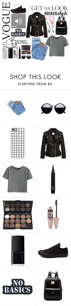 """Untitled #48"" by hadarvak ❤ liked on Polyvore featuring Levi's, Casetify, Anine Bing, WithChic, Maybelline, NARS Cosmetics, Converse, Hollywood Mirror, rockerchic and rockerstyle"