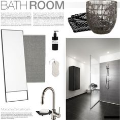 Monochrome Bathroom by little-bumblebee on Polyvore featuring polyvore interior interiors interior design home home decor interior decorating Nu Steel CB2 Kraus Missoni Home bathroom