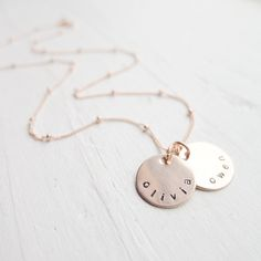 Personalized Rose Gold Necklace Rose Gold Name by CamileeDesigns, $49.00- Caitlyn!  This is what I want for Christmas from D!