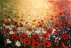 Original Contemporary Wildflower Painting.Palette by NataSgallery