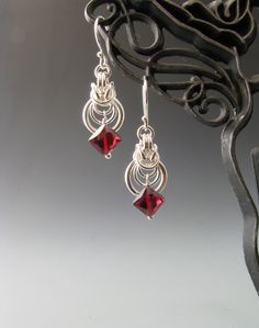 Byzantine Ripple Chain Maille Earrings with Garnet