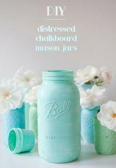 SomethingTurquoise Distressed  Chalkboard Mason Jars