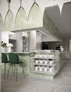 Cisne Lounge Café Design - Green onyx marble covers the counter area and is complemented with the dark green bar stools, white - Retail Interior, Restaurant Interior Design, Luxury Cafe, Green Bar Stools, Café Design, Design Ideas, Design Exterior, Coffee Shop Design, Grey Flooring