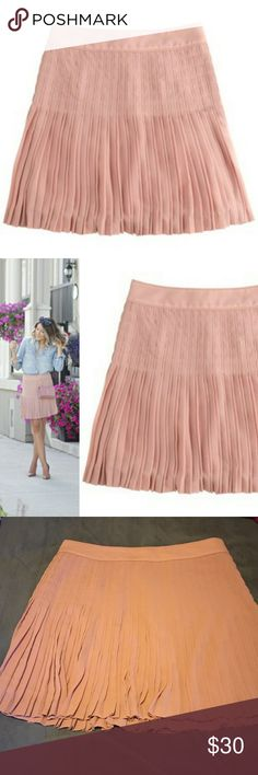 J.Crew Pleated Lattice Skirt J.Crew pleated lattice skirt, in a blush color. This skirt is flouncy and moves beautifully! Perfect condition, size 12 J.Crew Factory Skirts Mini