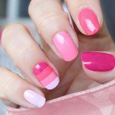 100layercake.com,--Pretty in pink nail art and polish set.  • essie® Castaway   • essie® Fiji   • essie® Guilty Pleasures   • essie® Watermelon