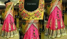 Baby Pink Crushed Half Saree   Saree Blouse Patterns