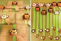 Roll-up Burlap Jungle Safari birthday party invitations