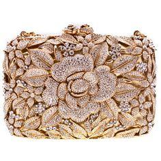 Swarovski Crystal Flower Clutch in Gold