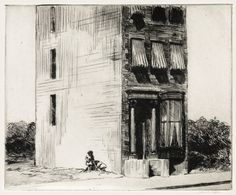 The Lonely House: 1922 by Edward Hopper - etching - (Part of Exhibit: American Modern: Hopper to O'Keeffe - Museum of Modern Art, NYC) - Modernism/American Realism American Realism, American Artists, Edward Hopper Paintings, Harvard Art Museum, House Sketch, Philadelphia Museum Of Art, Manet, Art Graphique, Art Plastique