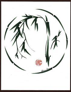 VISIONARY  Original sumi-e enso ink brush wash painting