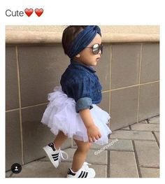 I HAVE TO HAVE THIS. White tutu, denim shirt, white sneakers, aviators on my baby girl!!