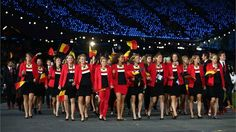 The Belgian team enters Olympic Stadium