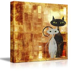 "Amazon.com: Wall26 - Canvas Prints Wall Art - Black and White Cat on Orange Grunge Canvas (painting, Abstract, Cat) | Modern Wall Decor/ Home Decoration Stretched Gallery Canvas Wrap Giclee Print. Ready to Hang - 16"" x 16"": Posters & Prints"