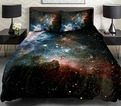 Anlye Black and Blue Galaxy Bedding Set 2 Sides 3d Printed Cloud Quilt Coverlet Galaxy Flat Sheet with 2 Bedroom Pillow Covers King