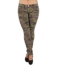 Olive Camo Skinny Jeans by Fashion2Love #zulily #zulilyfinds
