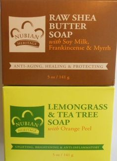 2-PkS -(1)-Nubian Heritage Raw Shea Butter & (1)- Lemongrass & Tea 5oz Bar Soaps #NubianHeritage