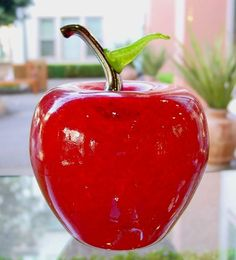 Glass Fruit, Red Apple, oversized, by Cliff Goodman