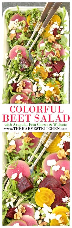 This Colorful Beet Salad is made with baby beets, arugula, feta cheese, walnuts, all tossed in a richly flavored shallot vinaigrette. It's also loaded with anti-inflammatory and antioxidant benefits! @theharvestkitchen.com