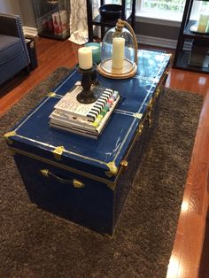 Old vintage trunk as a coffee table