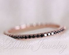 Black Diamond Ring/ Wedding Band Rose Gold Half Eternity Band/ Engagement Ring/ Wedding Band/ Matching Band/ Thin Design by AdamJewelry on Etsy Black Diamond Wedding Rings, Eternity Ring Diamond, Eternity Bands, Diamond Bands, Gold Ring, Band Engagement Ring, Wedding Ring Bands, Ring Verlobung, Band Rings
