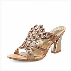 2c631ebb rritoce Fashion Womens Chunky Heels Peacock Shaped Pattern Rhinestone  Sandals Gold10 B(M) US