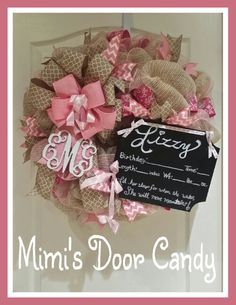 It's a girl, baby girl, girl birth announcement, burlap and pink wreath