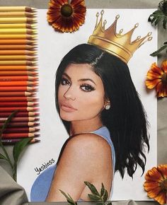 "sketch of ""King Kylie"" Girly Drawings, Cool Drawings, Kylie Jenner Drawing, Dope Kunst, Princesse Disney Swag, Trill Art, Arte Fashion, Celebrity Drawings, Color Pencil Art"