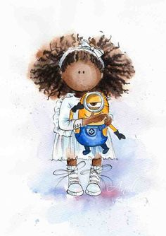African american little girl with Minion - Watercolor Print - Watercolor Painting - Poster wall print - Baby nursery print Kids room art