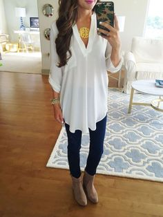 white V-neck tunic for layering in the fall.. NEED