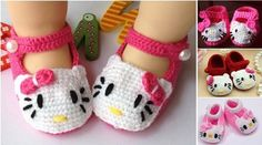 Hello Kitty Crochet Newborn Shoes (DIY)