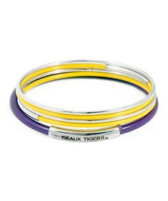 This Louisiana State Tigers 'Geaux Tigers' Bangle Set is perfect! #zulilyfinds