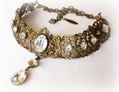 Swarovski  Crystal Choker  - Victorian Gothic  Brass Choker - Victorian Jewelry…