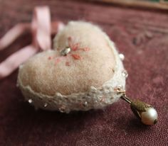 the adventures of bluegirlxo: tiny hearts for your sweet heart. My Funny Valentine, Valentine Heart, Valentines, Handmade Valentine Gifts, Strawberry Picking, Bead Sewing, Penny Rugs, Heart Ornament, Mini Heart