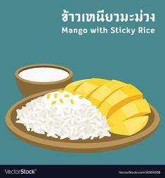 Thai food vector image on VectorStock Menu Design, Food Design, Thai Food Menu, Thai Alphabet, Mango Sticky Rice, Food Cartoon, Thai Street Food, Food Icons, Mini Canvas Art