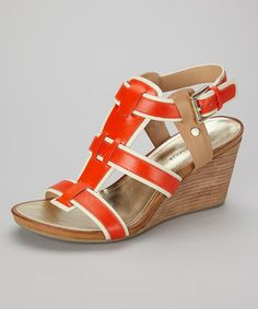 Tommy Hilfiger Orange & Cream Icon Sandal