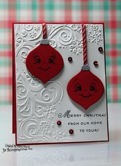 Mary's card using nested ornaments: bulbs and Peachy Keen face stamps