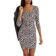 Charlotte Russe Tan Combo Bodycon Leopard Print Dress by Charlotte... ($19) ❤ liked on Polyvore featuring dresses, tan combo, tan dress, 3/4 sleeve dress, three quarter sleeve dress, tan bodycon dress i tan cocktail dress