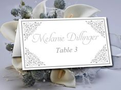 """DIY Wedding Place Card Template - Silver Wedding Escort Card """"Madison"""" Escort Card Printable - Wedding Table Card - Wedding Name Cards by PaintTheDayDesigns on Etsy"""