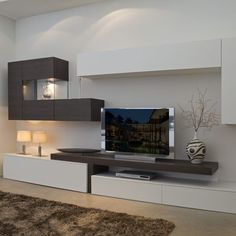 Living Roon, Living Room Shelves, Home Living Room, Living Room Decor, Tv Unit Interior Design, Tv Wanddekor, Living Room Tv Unit Designs, Modern Tv Wall Units, Muebles Living