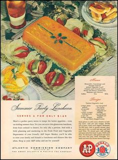 Summer Party Luncheon serves 6 for only $1.69 (includes Jellied Vegetable Loaf recipe), A & P Super Markets, Woman's Day 06/01/1946
