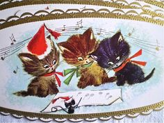 Christmas, Kittens, Cats, Vintage Christmas Cards, Set of 6, Original Envelopes, 1970's