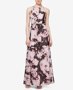 b96593a6d62 SL Fashions Beaded   Printed Chiffon Maxi Gown   Reviews - Dresses - Women  - Macy s